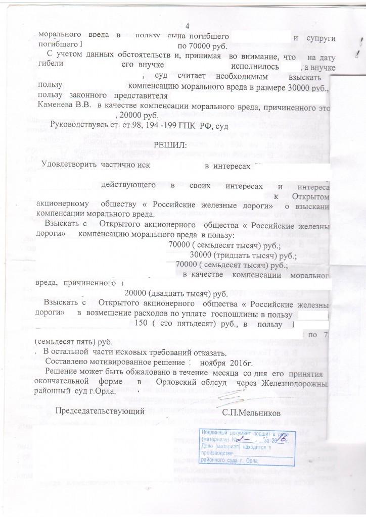 Моральный вред с ОАО РЖД